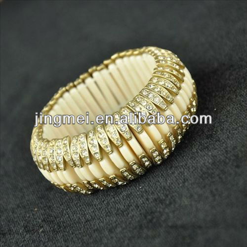 Jingmei Gilt edge with the Czech drill four color into the elastic rope bracelet jewelry wholesale alibaba(B071306A)
