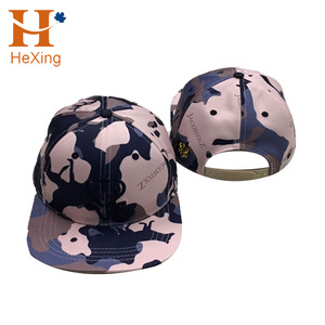 Men and Women Blue Pink Camo Flat Brim Hat for Outdoors