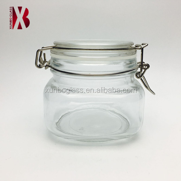 Square Glass Storage Jars With Locking Clip Lid 500ml   Buy Glass Jar,Glass  Storage Jars,Glass Jar Locking Lid Product On Alibaba.com