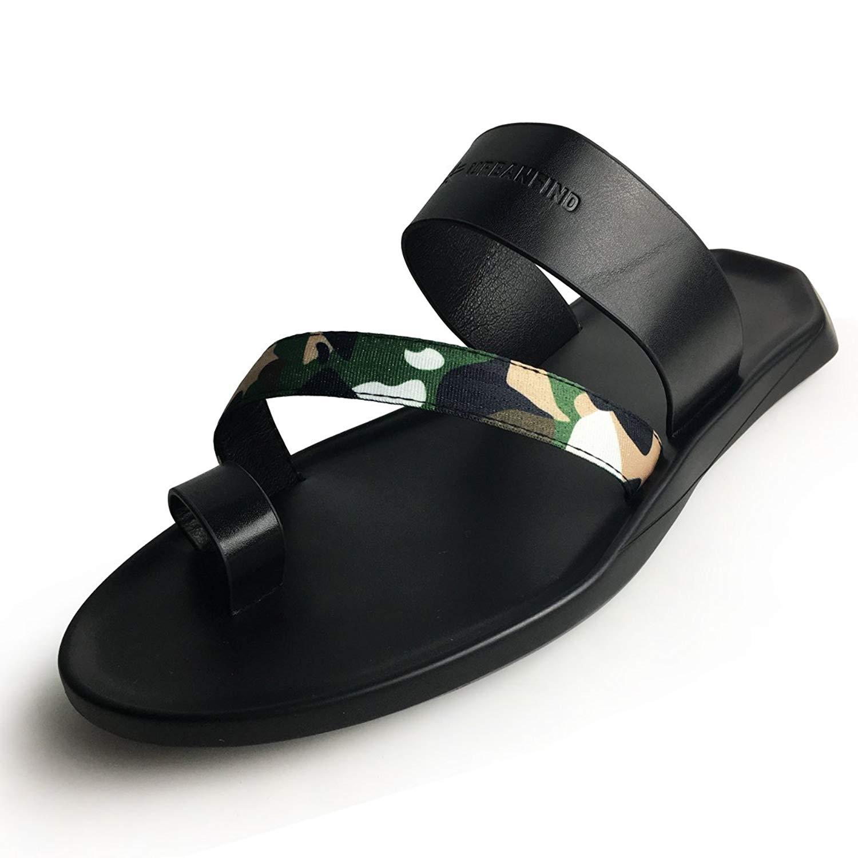 62c97adf85e Get Quotations · URBANFIND Men s Beach Wedding Flip Flops Vintage PU  Leather Thong Slides Sandals Casual Summer Mules Clogs