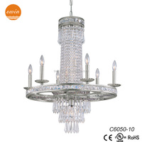 New classic camela 10 light crystal chandelier,old silver pendant lighting C6050-10