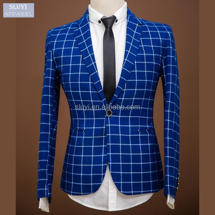 2017 Fashion men slim fit suits Blue Plaid suit One Single Button Weeding Tuxedo high quality colour combination suits