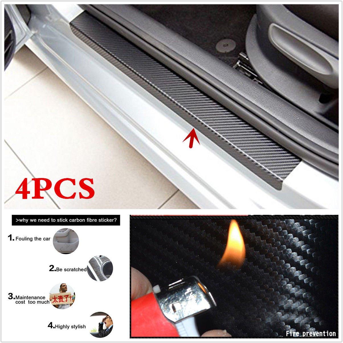 4PCS Accessories 3D Carbon Fiber Black Car door Plate Door Sill Scuff Plate Cars Sticker Anti-kick Scratch Auto Car-styling