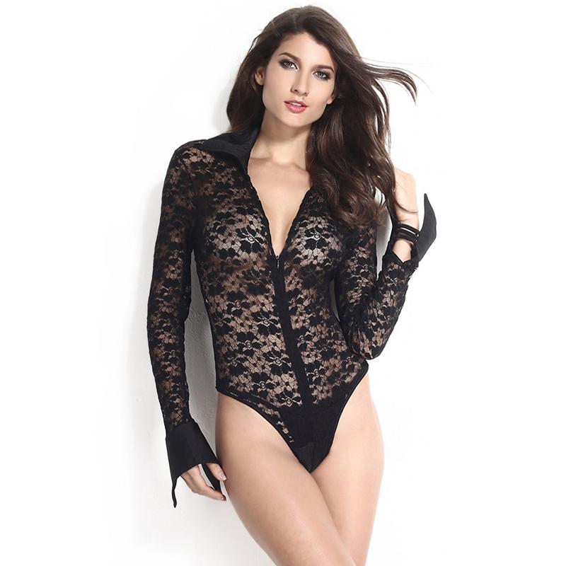 15de4ab0013 Get Quotations · Women plus size lace sexy club long sleeve bodycon jumpsuit  2015 sexy deep v-neck