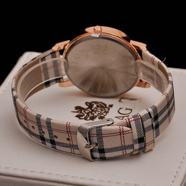 colorful ladies strap tartan design watch leather  clock  reloj mujer big dial colorful ladies strap wristwatch