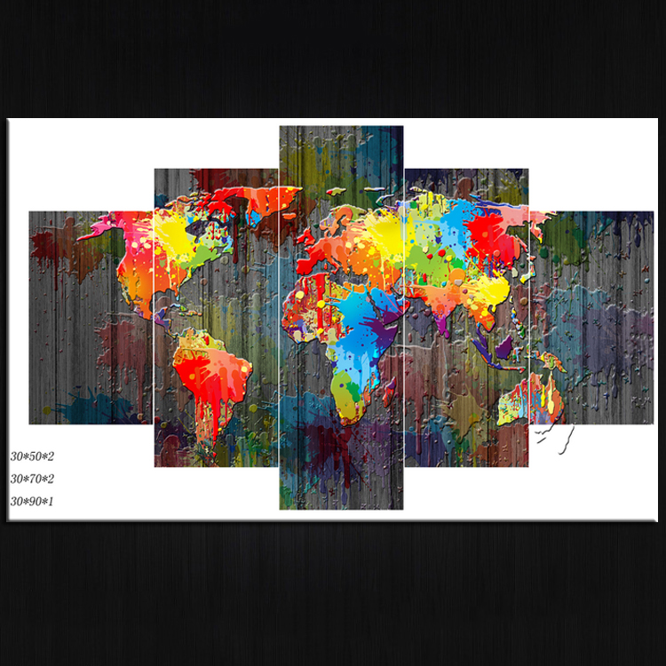 large multi panels world map canvas prints home wall decor <strong>art</strong>