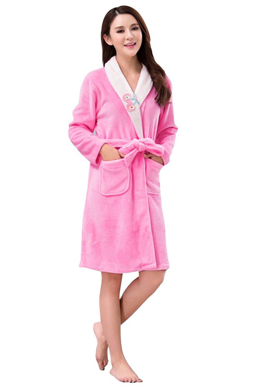 Get Quotations · Kitpaja Womens Long Fleece Winter Pajamas Flannel Bathrobe  Robe e990b5e5c