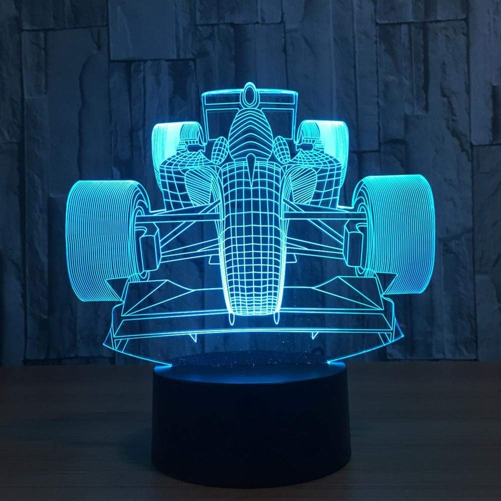 OOFAY LIGHT 3D LED Night Light Racing Optical Illusion Touch 7 Colour Changing with Acrylic Flat, ABS Plastic Base, USB Charger Table Desk Bedroom Decoration Light