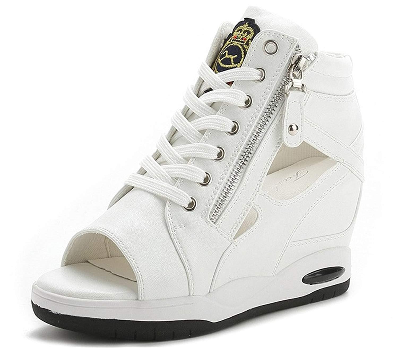 7bcdb758d9 Get Quotations · Jeans Wedges Sandals Women, Hidden Heel Peep-Toe Summer  Canvas Sneakers 4 Colors