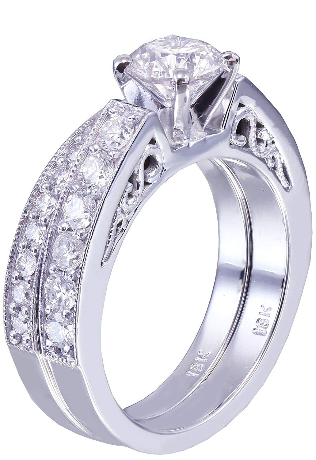 14k White Gold Round Cut Diamond Engagement Ring And Band Art Deco Antique Style 1.25ctw