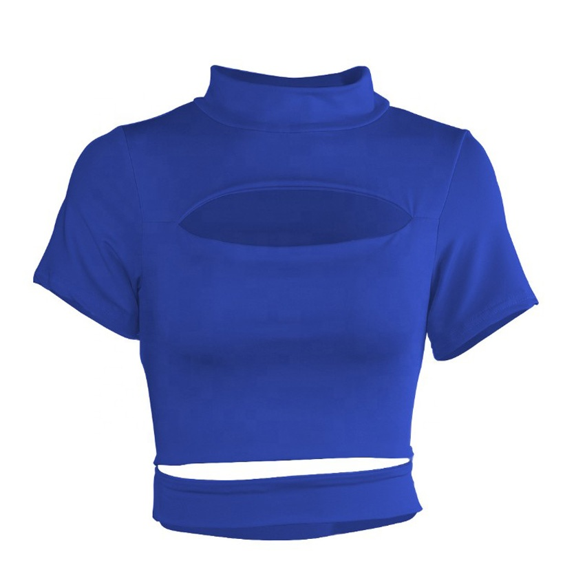 New women's European and American sexy hollow open-neck short-sleeved round neck crop tops