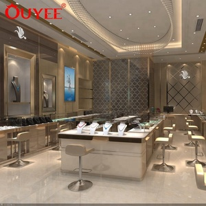 Elegant Chinese Jewelry Store Display Showcase With Lighting Fixtures