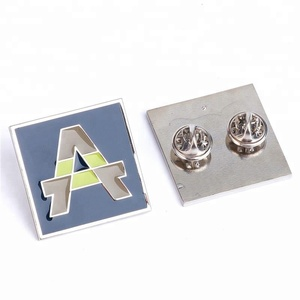 High End Square Custom Made Metal Butterfly Pin Label With Logo