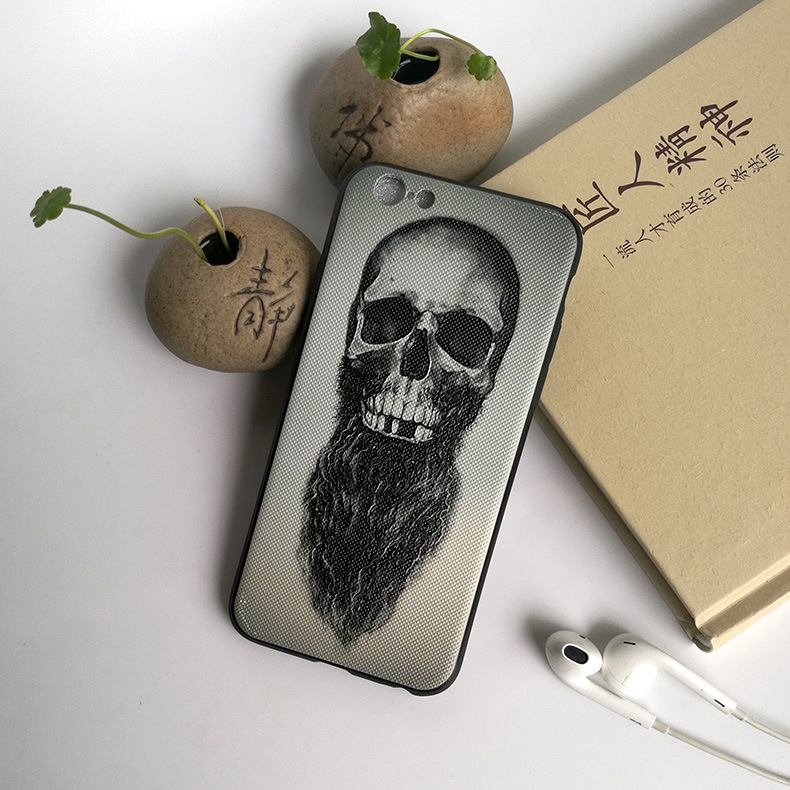 Cheap wholesale embossed devil skull mobile phone case for iphone 8 / 8p / X