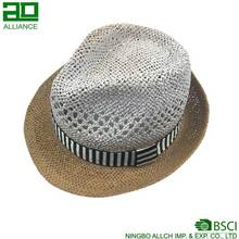 Mode Goedkope <span class=keywords><strong>Stro</strong></span> Gevlochten Trim Casual Fedora Zon Panama Hoed