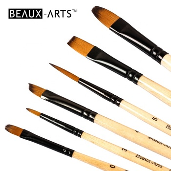 Black Smoky Artist Brush Set for Acrylic, Watercolor, Tempera, Face and Nail Painting with Bicolor Synthetic Hair
