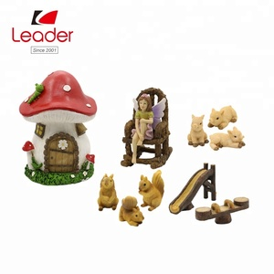 Hot sales Set of 11 decorative mushroom house fairy garden miniature accessories outdoor art,fairy garden miniature