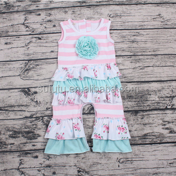 2018 Sue Lucky baby girls cute boutique wholesale toddlers summer ruffle sleeve sleeveless clothes romper