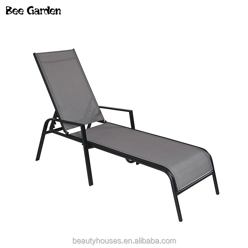 Hot sale patio singe sun bed outdoor daybed furniture adjustable aluminum Chaise Lounge Chair