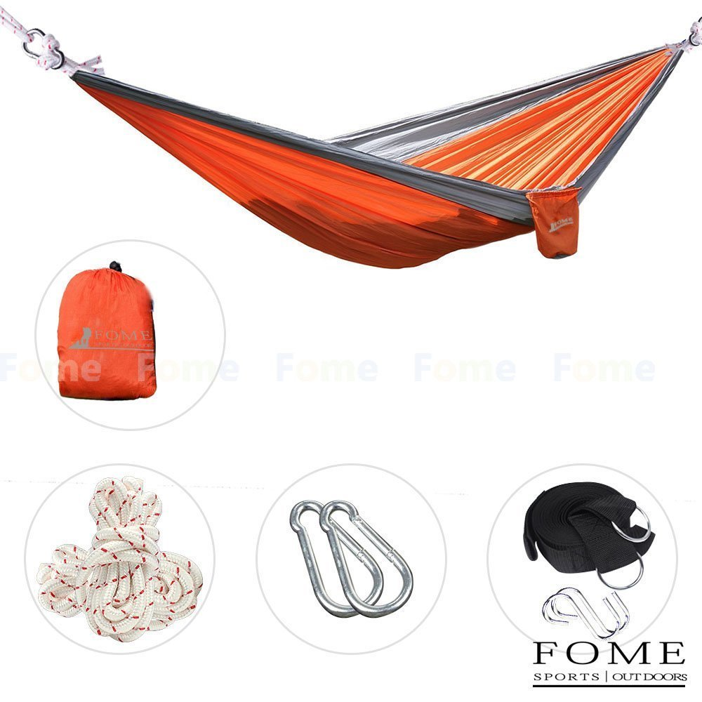 FOME SPORTS OUTDOORS Parachute Fabric Hammocks Ultralight Camping Hammock Hanging Bed 108 x 57 inch 440lbs Capacity + Free Hammock Tree Hanging Adjustable Straps One Year Warranty