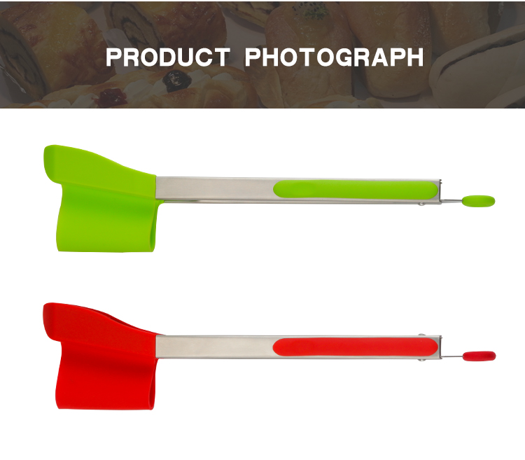 2019 Amazon Best Selling New Products Stainless Steel Frame As Seen on TV 2 in 1 Silicone Clever Tongs Spatula Clever Tongs