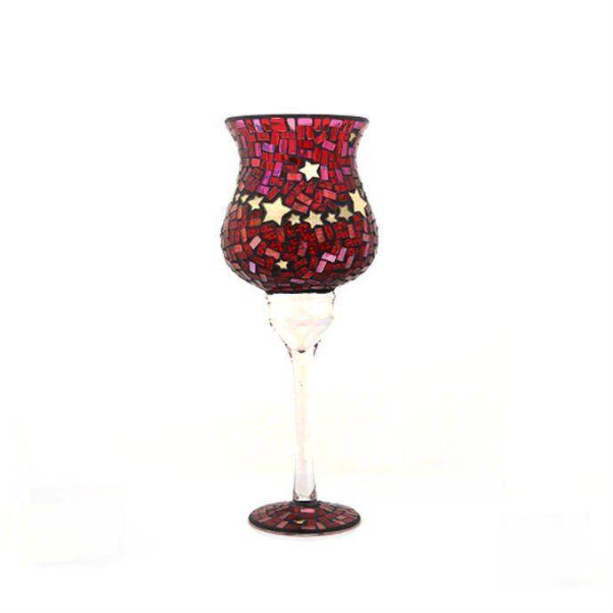 เทียนแก้วโมเสคทรงกลมแฟนซีอิตาเลี่ยน crackle Glass Jar
