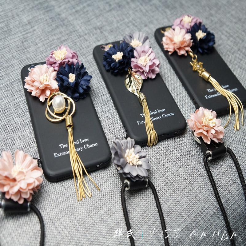New Arrival small cloth flowers soft TPU mobile phone case <strong>cover</strong> for iphone 6 with Lanyard