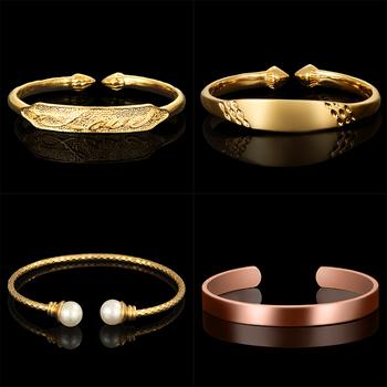 Fashion Brazilian Gold Jewelry 18k Real Plated Cuff Bracelets Bangle For Women