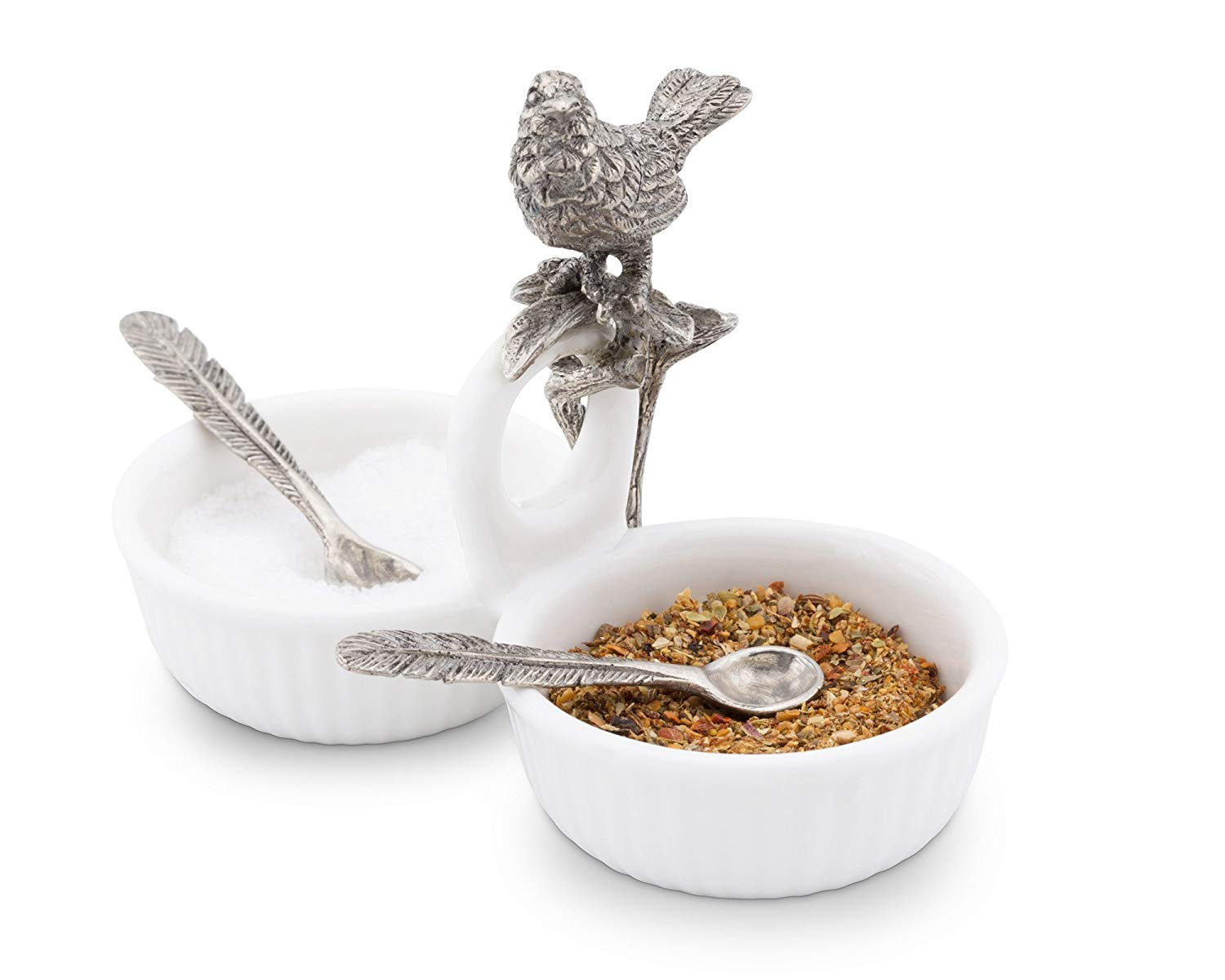 Vagabond House Song Bird Double Salt Cellar with Pewter Feather spoons