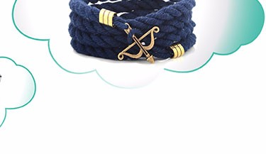Logo Custom Nautical Navy Leather Black Anchor Bracelet For Men