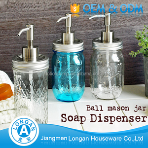 Accept Custom Order Decorative mason jar stainless steel lotion pump glass soap dispenser