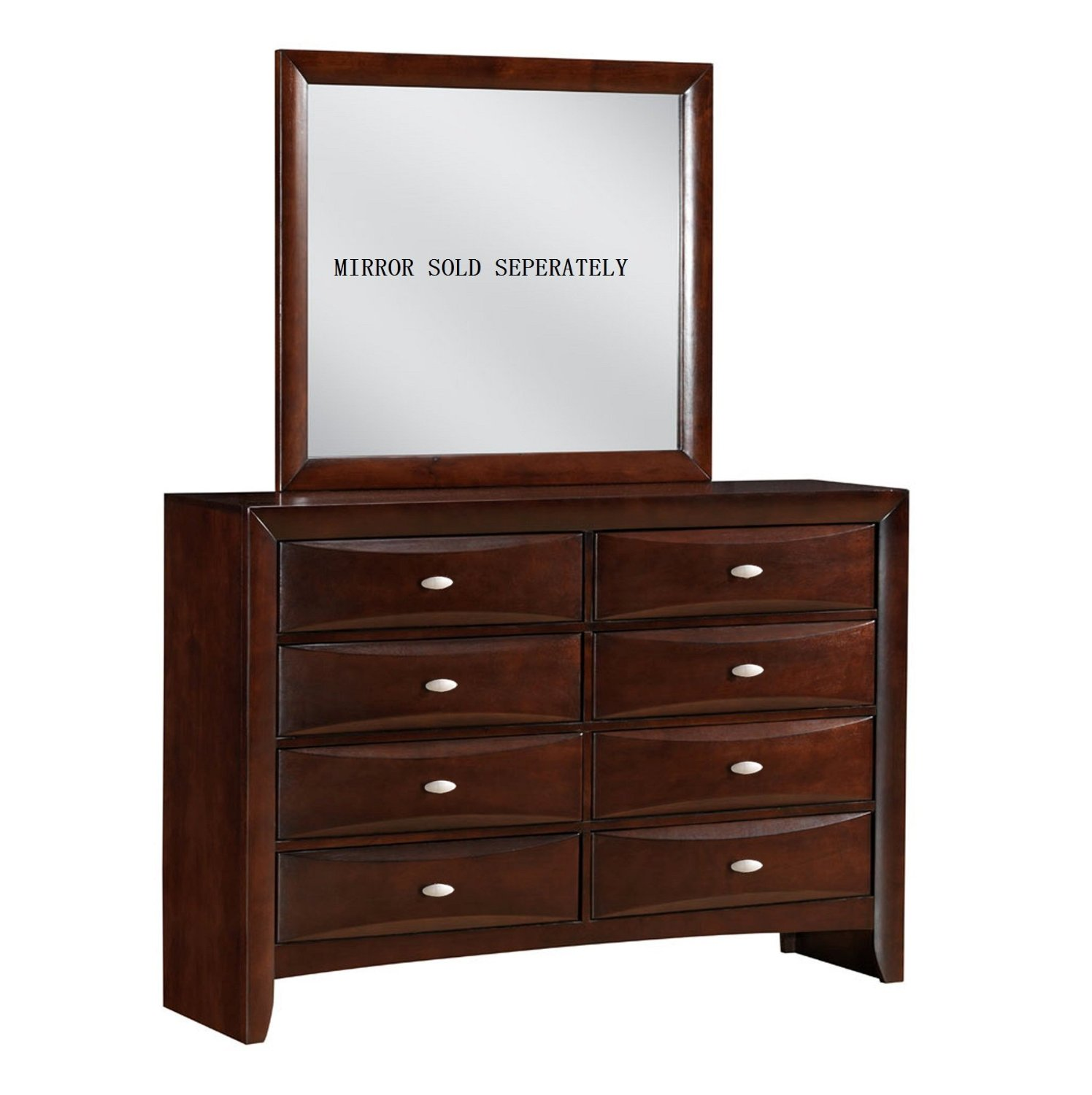 Roundhill Furniture Emily 111 Contemporary Solid Wood Construction Dresser, Mahogany, Merlot