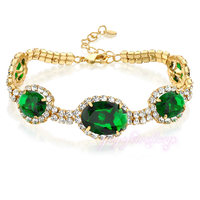 jewellery models womens yellow gold plated green stone bracelet