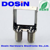 din rail double jack f type rf connector