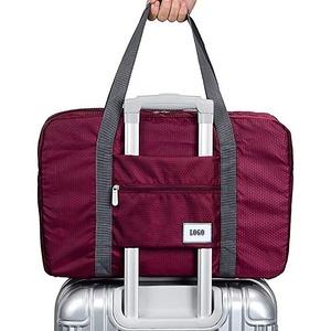 Waterproof polyester foldable storage travel bag, packable duffel bag, folding duffel bag