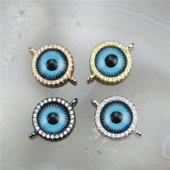 CH-GMC0046 Wholesale jewelry making bracelets accessories cz micro paved zircon charm eye brass connector charms