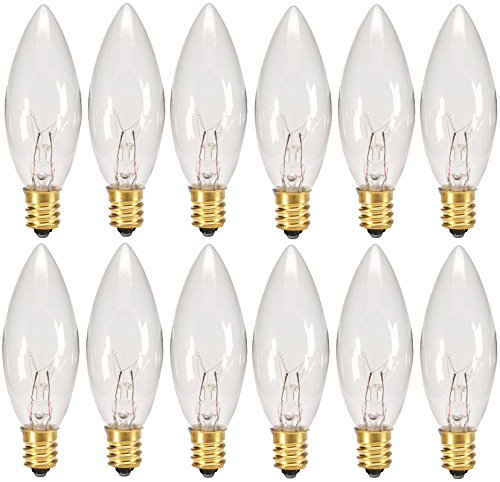 Creative Hobbies Replacement Light Bulbs for Electric Candle Lamps & Chandeliers - 7 Watt, Clear, Steady Burning - Pack of 12