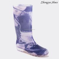 2016 latest style purple flower printed waterproof ladies rain boots ,customed logo women gumboots