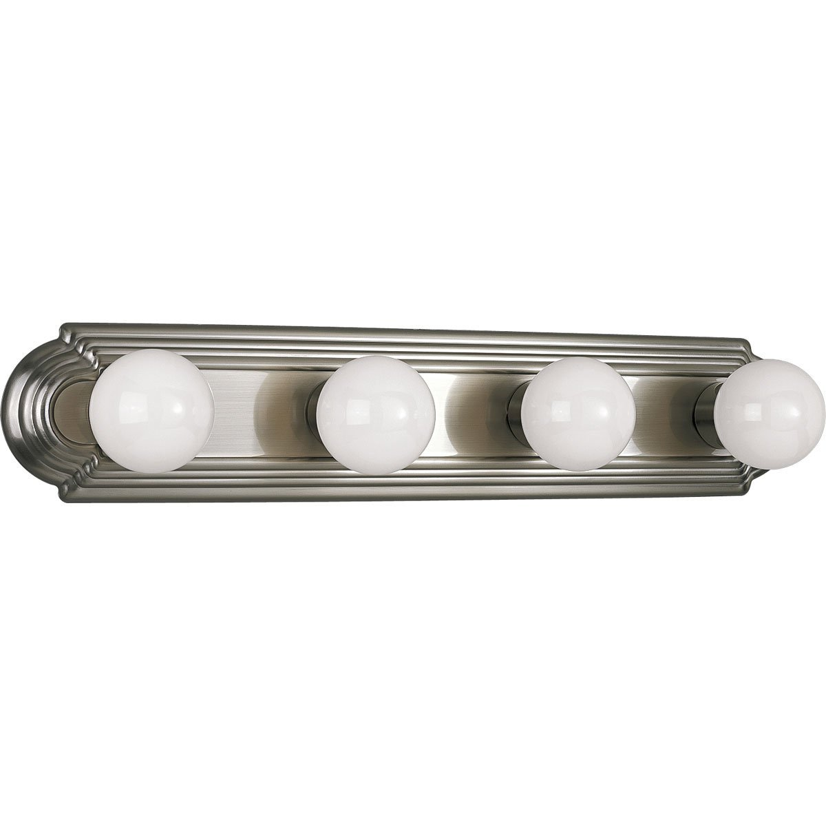 Progress Lighting P3025-09 4-Light Embossed Wall Mount Bracket Sockets Are On 6-Inch Centers and Wall Mount Only, Brushed Nickel