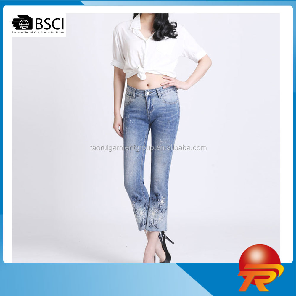 slim fit waisted washed embroidered cotton casual women's stretchy jeans denim capri pants trousers TR 2-593