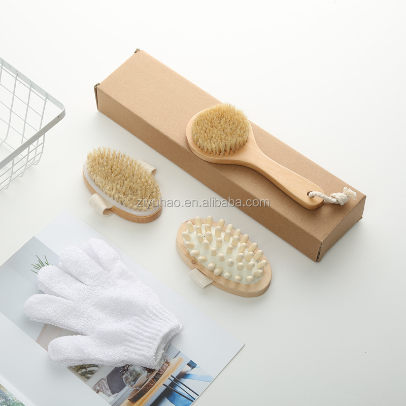 Body shower brush set with bath glove, wooden handle bath brush
