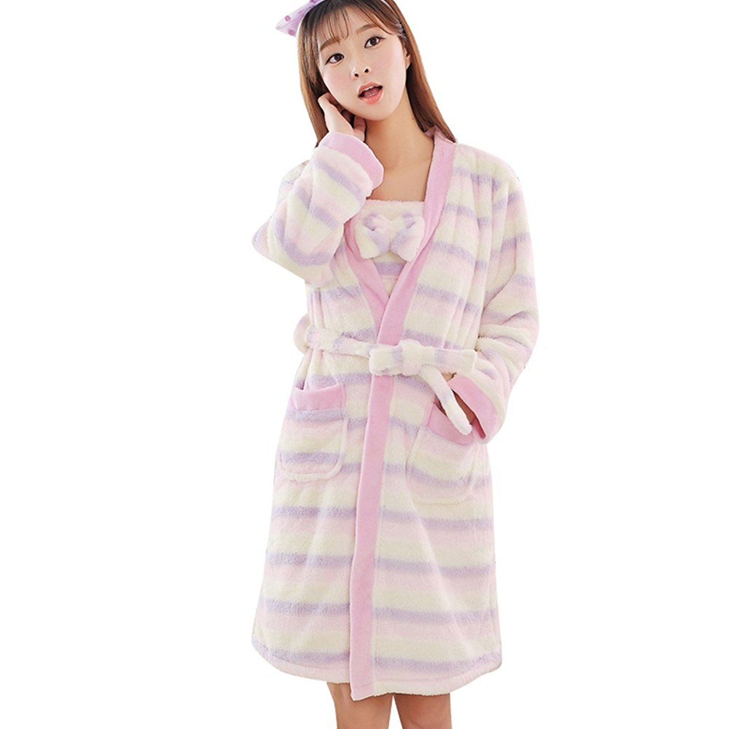 2c5748dfee Get Quotations · Bavijama Flannel Soft Womens Thermal Long Bath Robe Winter Pajamas  Pajamas