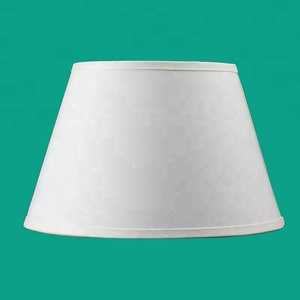 White fabric lampshade with cylindrical linen for table lamp shade