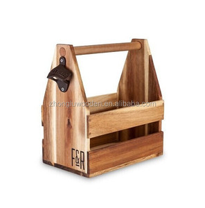 Acacia Wood Beer Caddy by Foster and Rye