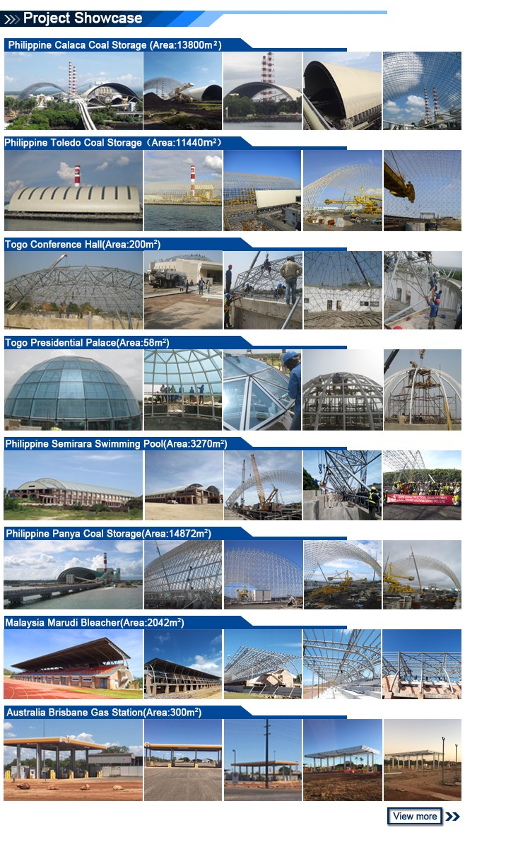 Coal storage shed steel space frame for roof system