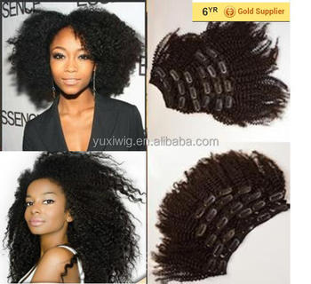 2015 Most Popular Afro Kinky Curly Hair Extension Natural Black Clip In Hair Extensions For African American Women Buy High Quality Kinky Curly Clip