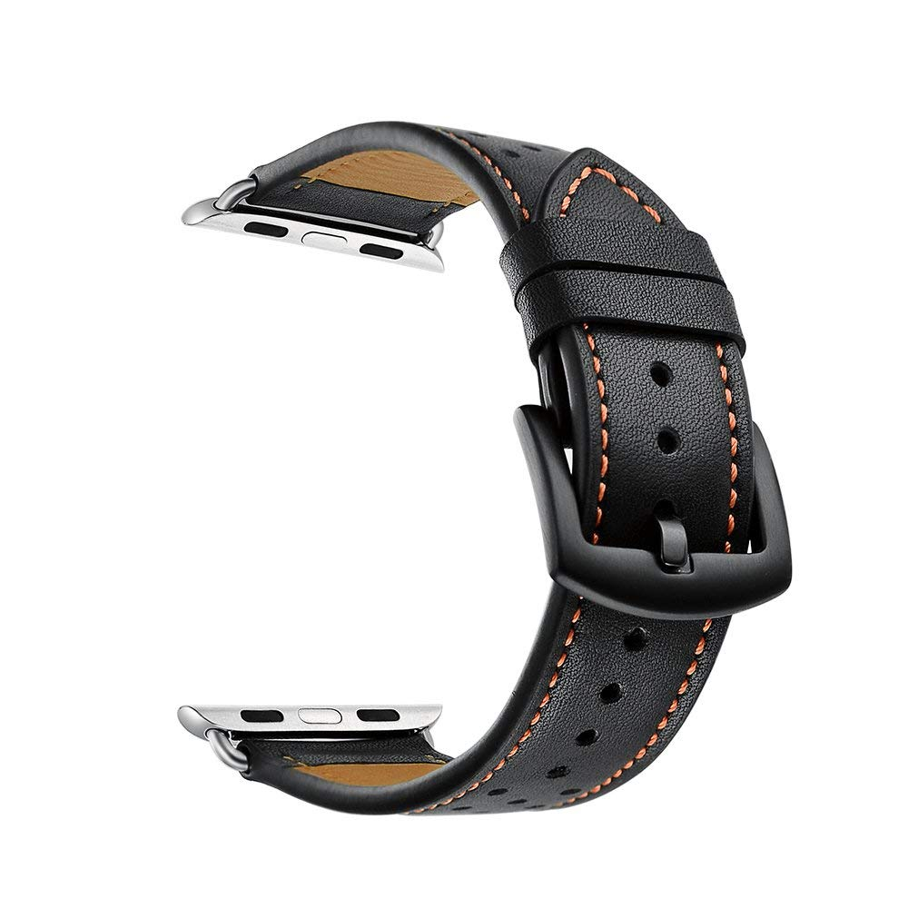 Genuine leather watch replacement band with polka dot for Apple watch, 42mm (Black with orange polka dot)