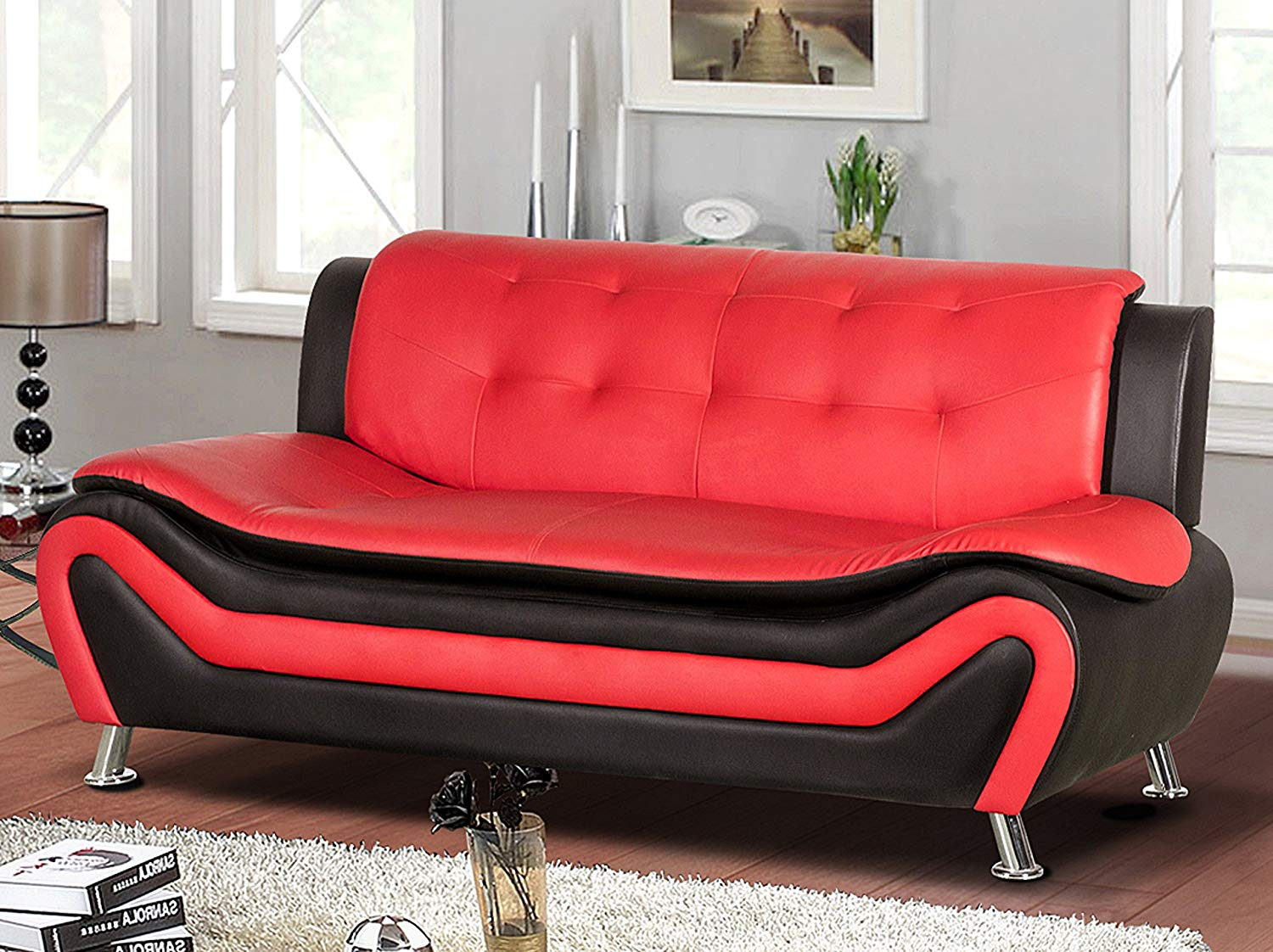 "Container Furniture Direct S5412-S Arul Leather Air Upholstered Mid Century Modern Sofa, 77.5"", Black/Red"