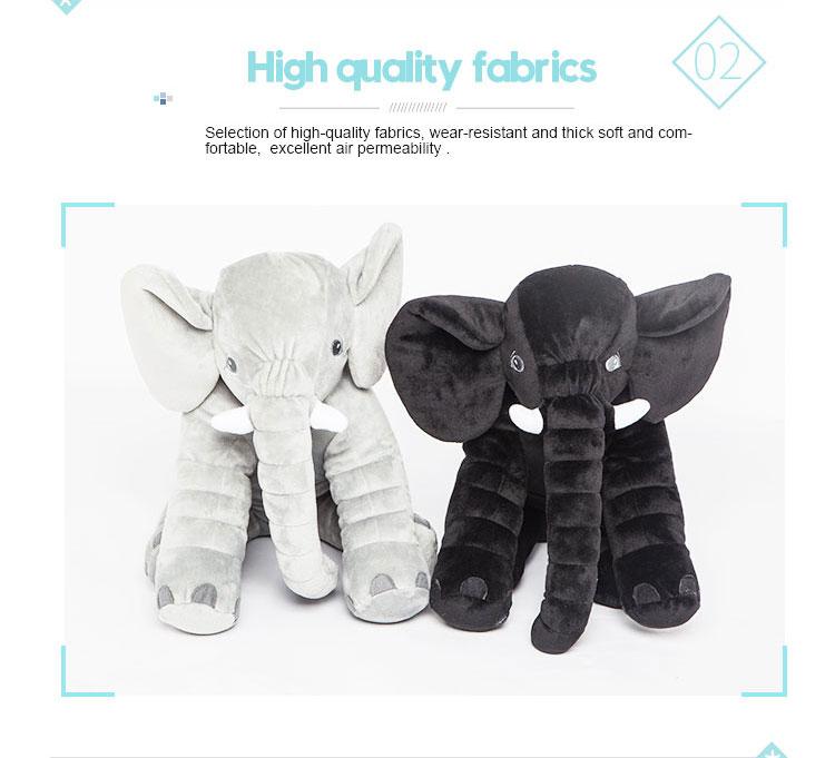 Venda quente 25 * 60 cm curto tecido de pelúcia elefante brinquedo de pelúcia por atacado para o bebê travesseiro de dormir