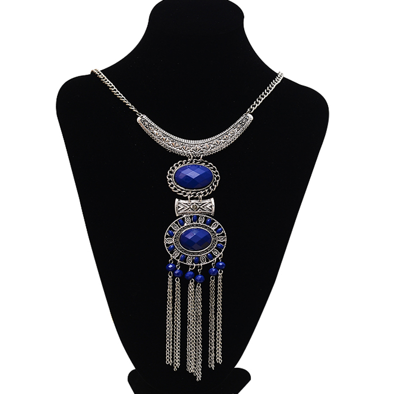 Vintage tassel pendants necklaces for women bohemian retro silver long necklaces collier with crytsal ethnic jewelry factory